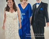 CUSTOM Bridal Portrait Illustration Painting in OIL by LARA 16x20 Wedding Portrait Family Couple Bride and Groom