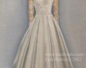 Custom Wedding Dress Illustration Painting in Oil by Lara Bridesmaid Maid of Honor 5x7