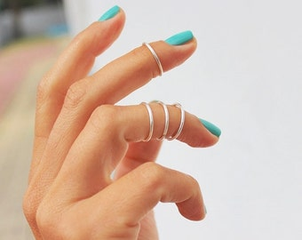 4 Stacking Rings - Above the Knuckle Rings -  knuckle Rings - Silver Above Knuckle Ring  - Set of 4 by Tiny Box