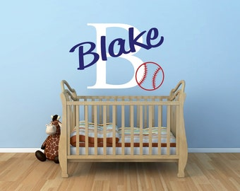 Personalized Name Decal Baseball Name Decal - Sports Decor Kids Room Teen Name Vinyl Wall Decal Sports