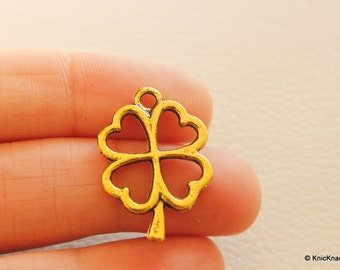 Four Leaf Clover Gold Tone Pendant Charms x 5
