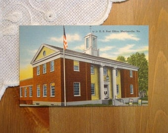 Vintage Postcard, U.S. Post Office, Martinsville, Virginia - 1950s Paper Ephemera