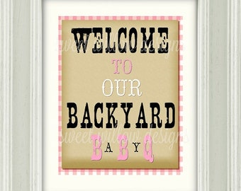 Baby-Q Pink Collection printable Welcome Sign Instant download-By Sweet Willow Designs