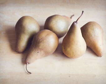 8x10 Print, Fine Art Photography, Food photography, Pears, Still Life Photography, Soft Brown, Earthy Tones, Kitchen decor, Vintage