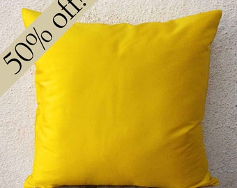 "Canary Yellow Silk Dupioni Pillow Cover 15 x 15  - ""HALF PRICE SALE""  - s17F"
