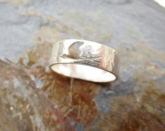 Fly, bird band ring, swallow ring, sterling silver, handmade jewellery, swift, flying birds, freedom, them silver seas, handcut, freepost UK