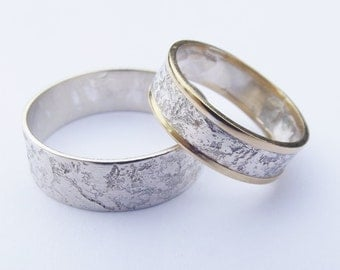 Silver and gold wedding band set, sterling silver and 18ct gold, band ring, Drystone wall, wedding rings, symbolic, simple, handmade wedding