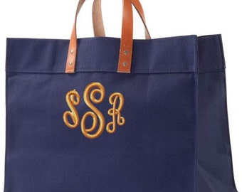 Monogrammed Canvas Tote Bag Leather Handles Utility Beach Teacher Travel