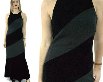 Vintage 90s Carmen Marc Valvo Evening Maxi Velvet-like Gown Dress Sz 4