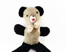 Vintage Panda Bear Stuffed Animal with rubber face Vintage Black and White Panda plush Teddy Bear Old Panda Rubber Face Stuffed Animal Toy