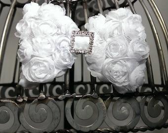 White hair clip, white hair bow, white hair accessory, hair clip hair accessory, white rosette hair bow with rhinestone center