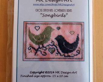 Songbirds cross stitch kit: lovebirds series