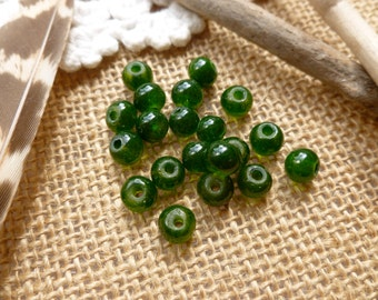 20x Green Glass Lampwork Bead For Jewelry Making, P79
