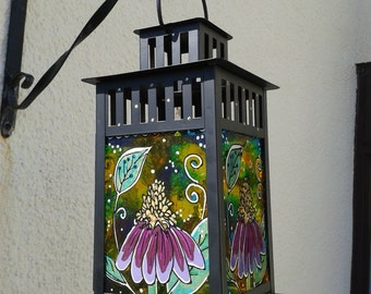 Wild Flower Stained Glass Candle Lantern