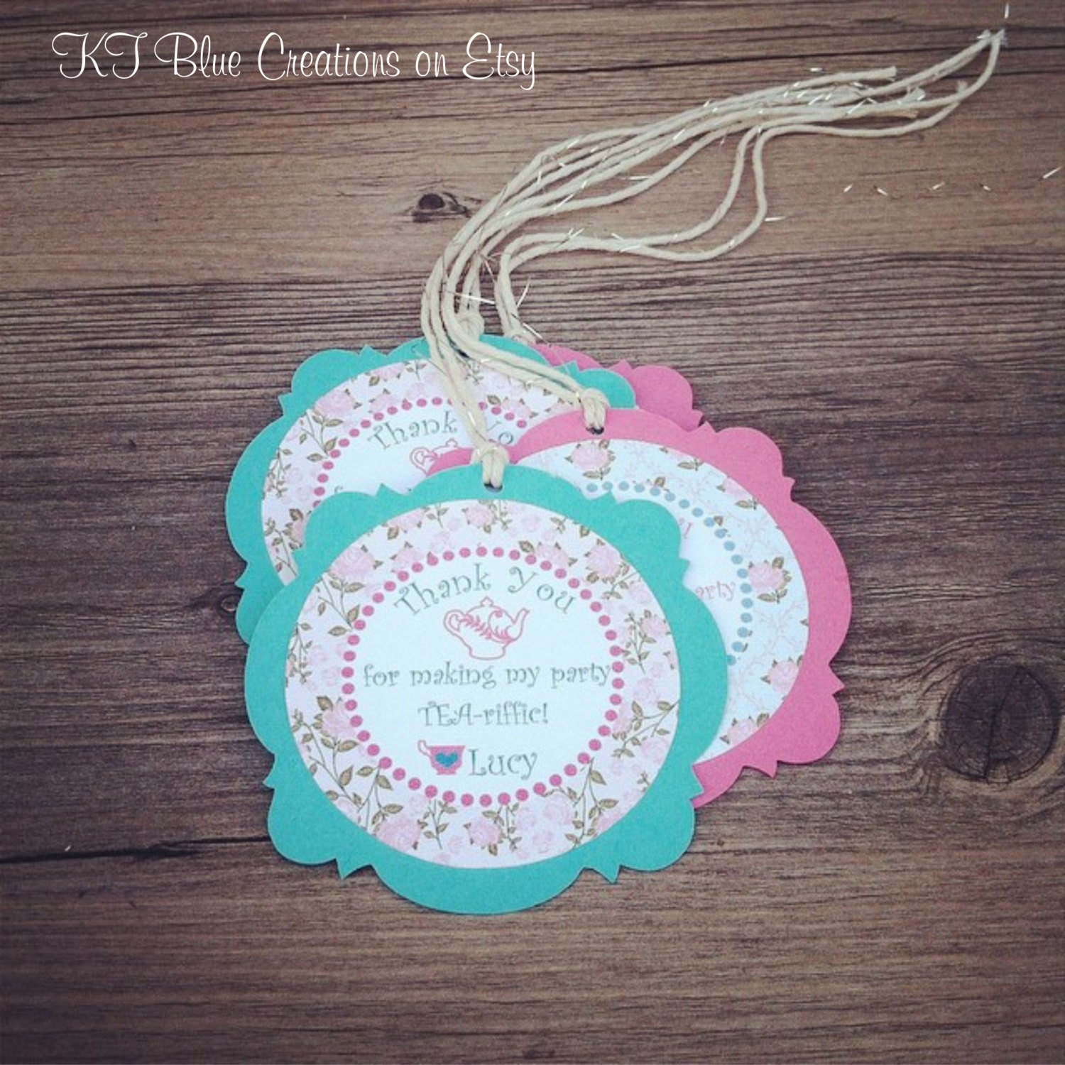 Tea Party Thank You Tags Favor Tags Gift Tags Personalized