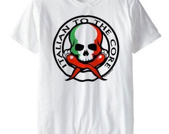 Italian To The Core™ -SD1092- T-shirt Italian Pride Italy  Hardcore Italian Skull Italian Horn