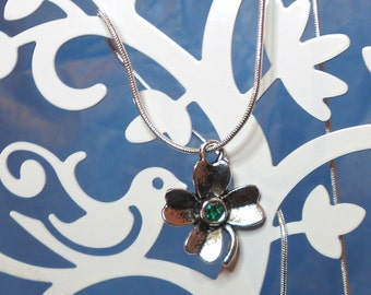 SALE Lucky 4 leaf clover silver necklace