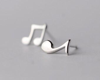 925 Sterling Silver Musical Note Silver Stud Earrings 348