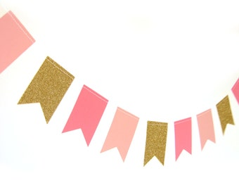 Gold and pink paper flag garland  - gold glitter garland, gold shimmer garland, glitter flag garland, gold glitter wedding, party decor,