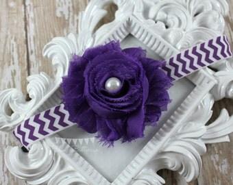 Purple Shabby Chic Headband, Purple chevron headband, Bridal Flower Girl Headband