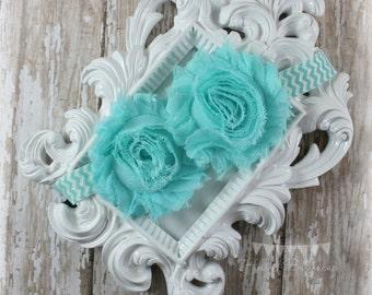 Aqua Shabby Flower and Chevron Headband, Vintage Style Shabby Chic Baby Headband, Newborn Baby Girl