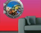 Full Colour Tropical Fish Aquarium Porthole wall sticker decal mural transfer