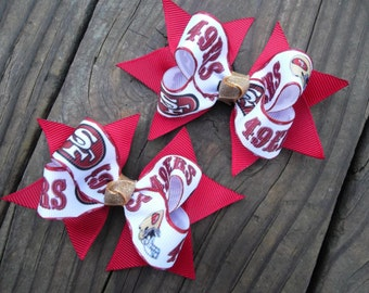 San Francisco 49ers Bows Scarlet Red and Gold Baby 49er Bows Set of Two