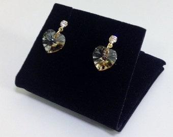 Swarovski Heart Golden Shardow Crystal Gold Earring, Japan Earrings, Classy Dainty Stud Earring, Bridesmaid Gift E34