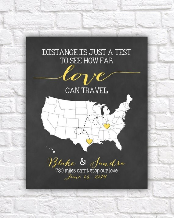 Map, Gift for Couples - Art Print, Bridal Shower Gift, Love Travel ...