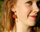 Orange Sunflower Penny Earrings, Penny Pendant Dangle Earrings with Orange and Copper Beading, Orange and Black Jewelry