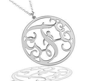"""Monogram Necklace 0.8"""" Sterling silver 925 - Personalized Initial monogram necklace. personalized gift, birthday gift"""