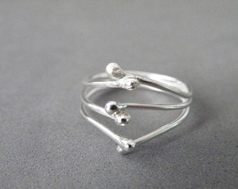 Silver Matchstick Ring Sterling Silver Modern Ring Hand Forged Minimalist Jewelry by SteamyLab
