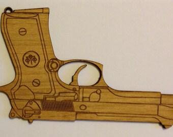 Beretta 92 Pistol Wooden Fridge Magnet