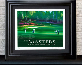 Masters Augusta National Golf Course, version 2 with golfers, golf art gift sports poster print painting