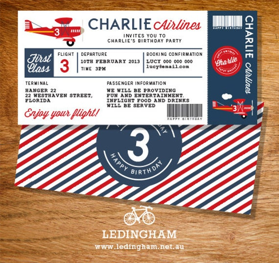 Airplane Ticket Boarding Pass Birthday Invitation: Airline Plane Ticket Birthday Invitation By LedinghamShop