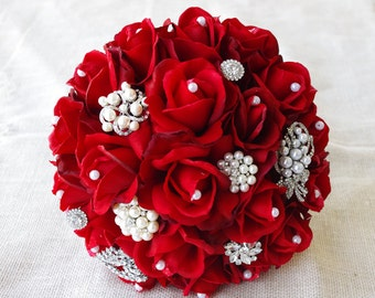 Red Silk Pearl Brooch Wedding Bouquet - Natural Touch Roses and Brooch Christmas Jewel Bride Bouquet - Rhinestones