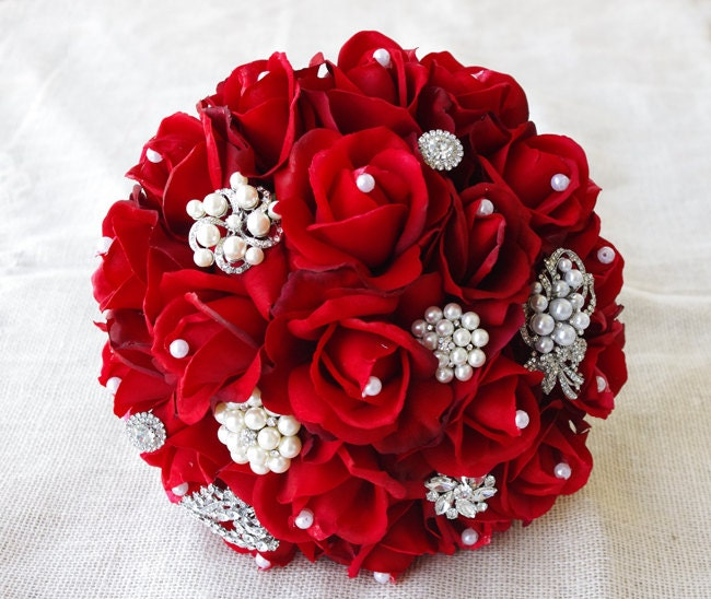 Red silk pearl brooch wedding bouquet natural touch roses - Bouquet de rose artificielle ...
