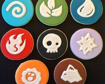 Skylander Elements Sugar Cookies.