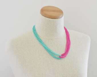 Turquoise and hot pink seed bead necklace, teal and pink necklace, pink and aqua necklace, neon necklace, pink and turquoise necklace