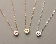 Tiny Skull Necklace / Dainty Layering Necklace / Delicate Charm 14k Gold Fill, Rose Gold Fill or Sterling Silver / Mini Skull Necklace LN323