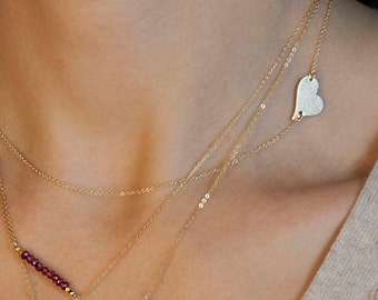 Side Heart Necklace / Personalized Gold or Silver Heart Necklace / Heart Initial Necklace / Silver, Rose, Gold Heart Layered and Long LN108