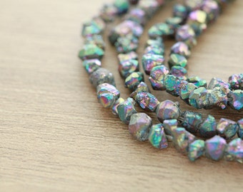 10 pcs of Multicolor Plated Pyrite Rough Nuggets