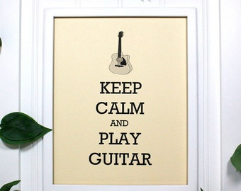 Keep Calm Poster - 8 x 10 Art Print - Keep Calm and Play Guitar - Shown in French Vanilla - Buy 2 Posters, Get a 3rd Free