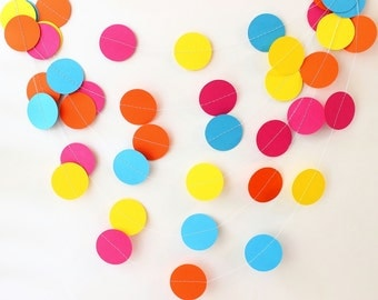 Paper Garland, Wedding Garland, Birthday Party Decoration, Baby Shower, Photo Prop, Circle Bunting, Summer Party, Tween Decor, Hot Pink