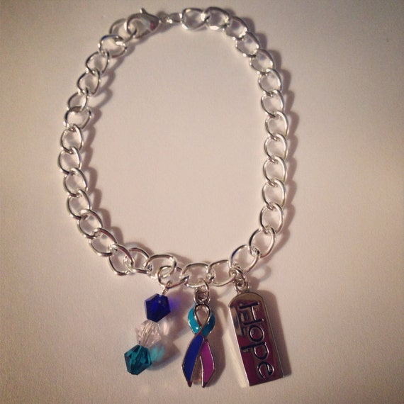 Thyroid cancer awareness charm bracelet by jewelsofhopebyjess