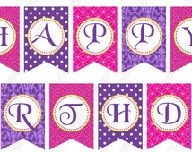 DIY Tangled Inspired PRINTABLE  birthday party BANNER hot pink purple yellow Rapunzel