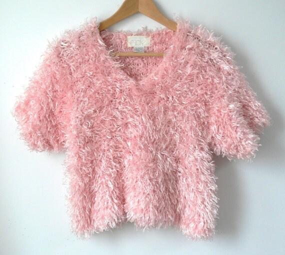 Vintage 90s Cache Fuzzy Pink T Shirt Pastel Grunge By