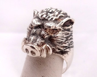 Wild Boar Ring, Sterling Silver Ring, Animal Ring, Animal Jewelry, Silver Pig Ring, Wild Pig Ring, Sterling Silver Wild Pig, Vintage Patina