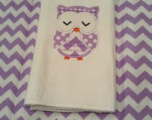 Sleeping Owl Burp Cloth, Owl Burp, Sleeping Owl, Girl Owl