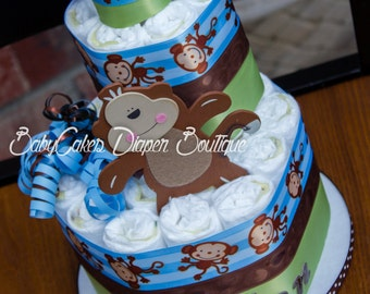 Monkey Diaper Cake, Monkey Diaper Cake Centerpiece, Monkey Boy Diaper Cake, Monkey Boy Baby Shower, Monkey Baby Shower
